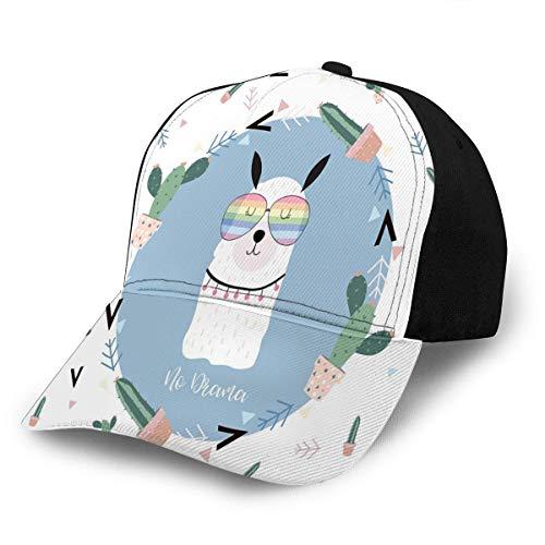 Gorras de béisbol Tarjeta Linda Azul Ajustable para Adultos con Gafas de Llama Cactus en Verano Gorra de béisbol sin Drama Unisex