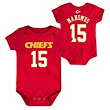 Outerstuff NFL Newborn Infants Team Color Name and Number Bodysuit Creeper (12 Months, Patrick Mahomes Kansas City Chiefs Home Red)