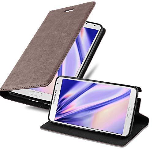 Cadorabo Hülle für Samsung Galaxy Note 3 in Kaffee BRAUN - Handyhülle mit Magnetverschluss, Standfunktion & Kartenfach - Hülle Cover Schutzhülle Etui Tasche Book Klapp Style