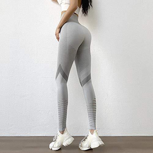 Gedessineerde hoge taille Smokte taille Dun,Fitness joggingbroek met hoge taille voor dames, grote holle legging - grijs small,Naadloze hoog getailleerde yogalegging voor dames