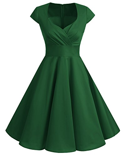 bbonlinedress 1950er Vintage Retro Cocktailkleid Rockabilly V-Ausschnitt Faltenrock Green 2XL