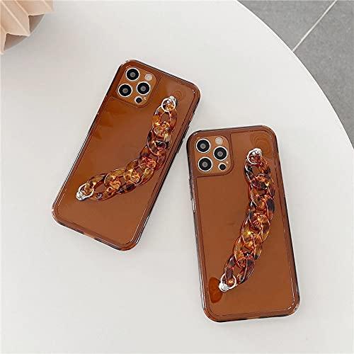 LIUYAWEI Estuche para teléfono con Pulsera marrón a la Moda para iPhone 12 Mini 11 Pro MAX XR XS MAX X 7 8 Plus SE 2020 Cubierta Suave con Cadena de Pulsera Transparente, marrón, para iPhone 8