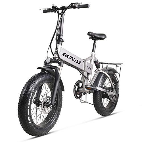 GUNAI 500W Elektrofahrräder 20 Zoll Faltbare Mountain Snow E-Bike Rennrad mit Scheibenbremsen 7 Geschwindigkeit (Silber)