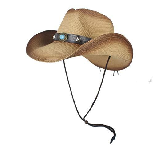 Ombra Sombrero Hombre Cowboy Cappelli for Uomo Western Cowboy Strew Cappelli Uomini Estate Paglia Cowgirl Costume Party Crimpare Cappello Occidentale Elegante ( Colore : Cachi , Dimensione : 56-58 )