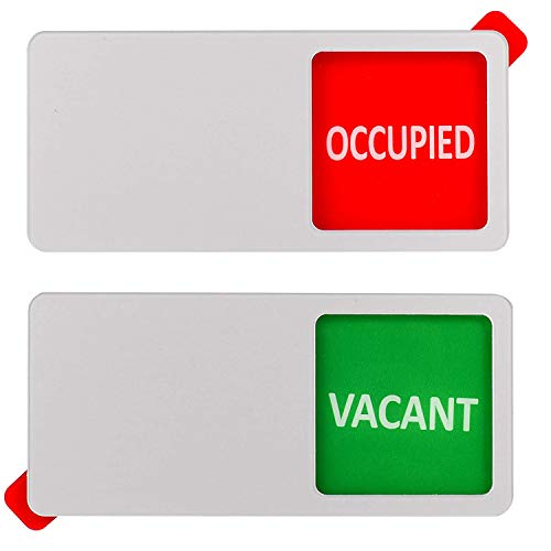 Kichwit Vacant Occupied Sign, Privacy Sign for Offices or Homes, Silver, 5.1 x 2.3 Inches