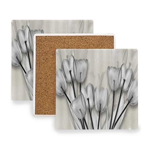 PANILUR Tulip Flower Moderner Blumenstrauß Mit Einfarbigem Elfenbeinhintergrund,Untersetzer Saugfähige Keramik,für Tassen Tisch Bar Glas(1 Packs)