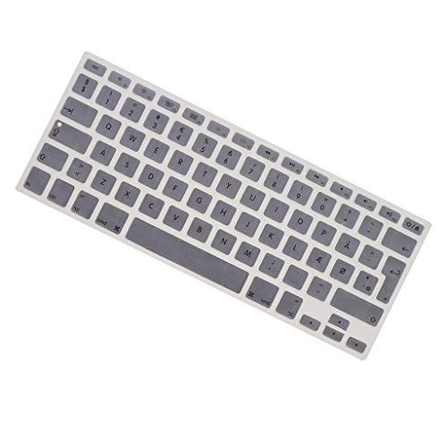 KESOTO Silikon Tastaturaufkleber Tastatur Aufkleber Keyboard Sticker für MacBook 13,3 Zoll 15 pro-Tastatur (Dänisch Layout) - Silber grau