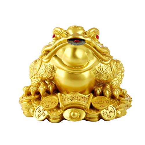 BESPORTBLE Sapo de Feng Shui Sapo de Tres Patas Que Atrae Riqueza Buena Suerte Figurillas Adornos de Escritorio de Mesa para La Oficina de La Tienda (Tamaño Grande Dorado)