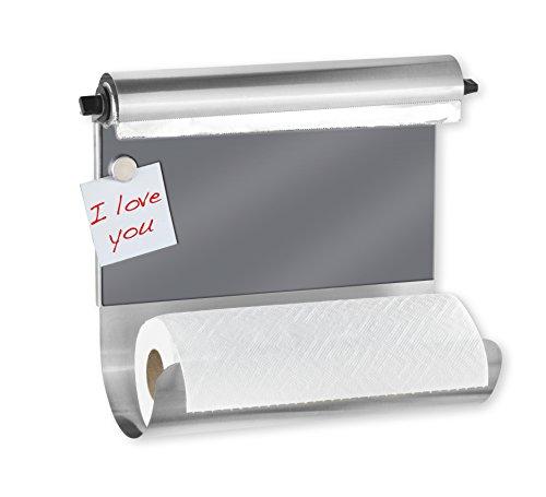 WENKO Magnetischer Rollenhalter Grau - mit Folienspender, Gehärtetes Glas, 35 x 29 x 14.5 cm, Mehrfarbig