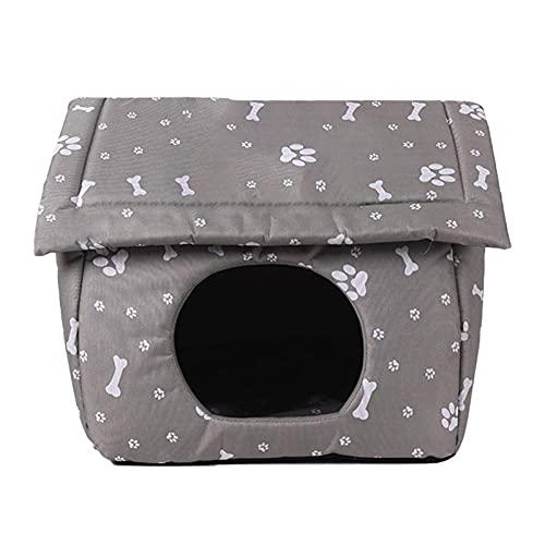 Cuccia Casa per Gatto Invernale Tana per Cani Impermeabili Grotta per Gatti Antiscivolo Pieghevole Rimovibile Lettino Gattino Comoda Canile per Esterno Interno Rifugio per Animali Domestici, Grigio
