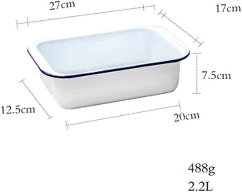 NSYNSY Plateau de Cuisson en émail à Bord Bleu Moule de Cuisson à gâteau rectangulaire Domestique Plateau de Rangement pour Four Facile à Nettoyer (Couleur: A) A
