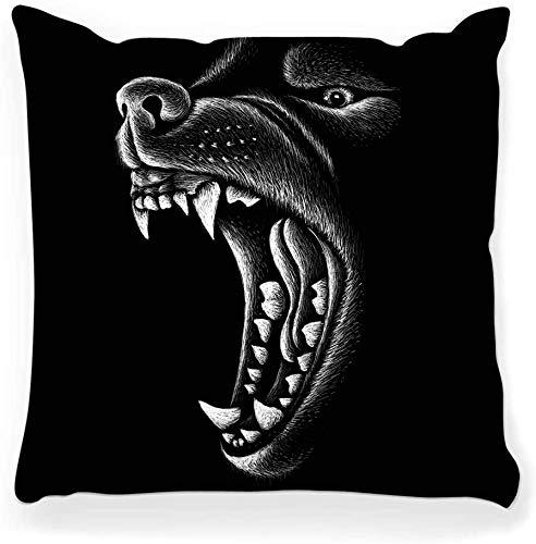 Funda de Almohada Decorativa Cuadrada 16x16 Lobo Outwear Estilo de Caza Ira Animal Art Banner Negro Lindo Día Oscuro Perro Dibujo Grabado Decoración para el hogar Funda de Almohada con Cremallera