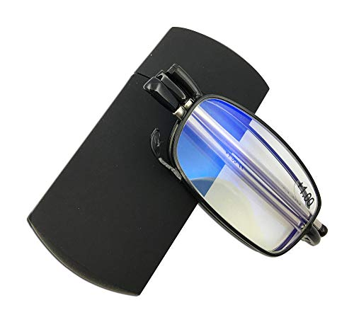 Blue Light Blocking Compact Folding Reading Glasses with Case Foldable Pocket Readers + 3.00