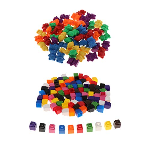 sharprepublic Mathlink Cubes Snap Blocks 4 Colores + Contadores de Plástico Tipo Oso de Colores para Niños