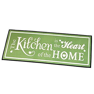 Heart Of The Home Skid-Resistant Kitchen Novelty Rug, Sage Green