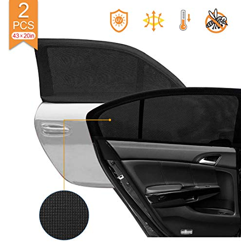 HOISTAC Car Rear Window Sun Shade for Baby and Pet,Mesh Car Side Window Sunshade,Double Venting Design,Universal Fit for Most of Cars,2 Pack(43inx20in)(110cmx50cm)