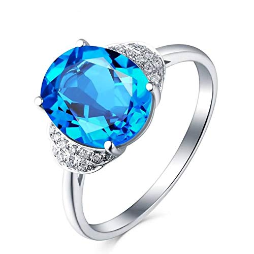 Adokiss Jewellery 18 carat ring, blue oval topaz 3.59 ct wedding ring, women's rings, engagement, white gold, anniversary gift. White Gold