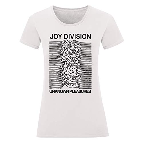 LaMAGLIERIA T-Shirt Donna Joy Division - Maglietta Indie Rock Band 100% Cotone, M, Bianco