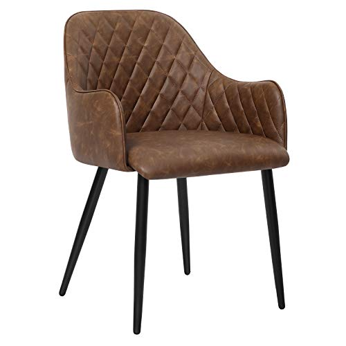 SONGMICS Dining Chair, Modern Padded Armchair with Backrest, Metal Legs and PU Upholstery, Load Capacity 242.5 lb, 21.3″L x 22.4″W x 31.3″H, Brown