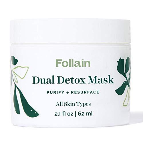 Follain Dual Detox Mask: Purify + Resurface, Kaolin & Bentonite Clay Face Mask for Pores, AHAs (Lactic & Glycolic Acids), BHA (Salicylic Acid), Vegan, Cruelty Free Clean Beauty, 2.1 fl oz