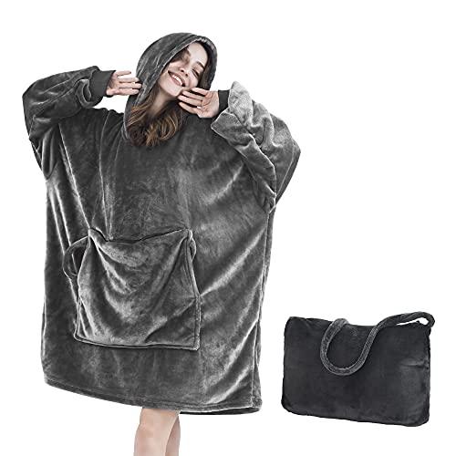 Wearable Blanket Hoodie Oversized Sweatshirt Blanket with Folding Giant Pocket Light Microfiber...