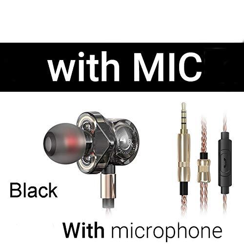 WGSI In Ear koptelefoon met microfoon 6 Dynamic Driver Unit Headsets Stereo Sport HIFI Subwoofer koptelefoon Monitor oordopjes (Color : BK with Mic)