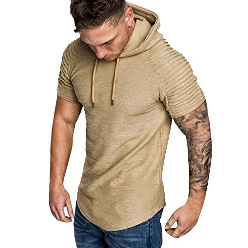 Camiseta de Manga Corta para Hombre Moda Color Sólido Sudadera con Capucha Dobladillo Irregular Personalizadas Pliegues T-Shirt de Verano Simplicidad y Moda MMUJERY