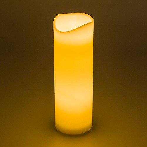 LuminalPark LED-Stumpenkerze H30 cm, Dm. 10 cm, elfenbeinfarben, Echtwachts, warmweißes Licht, flackernd, Batterie, mit Zeitschaltuhr, Innenbereich