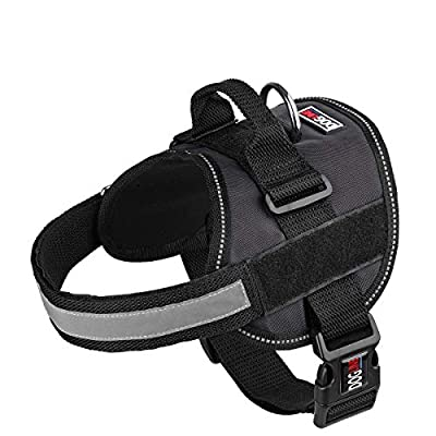 Dog Harness, Reflective No-Pull Adjustable Vest with Handle for Walking, Training, Service Breathable No - Choke Harness for Small, Medium or Large Dogs Room for Patches Girth 15 to 19 in Black