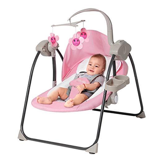 LLZH Columpio Automático para Bebé, Mecedora Eléctrica Plegable, Hamaca Bebé Compacto, Vibración Calmante, con Música y Bluetooth, 3 Velocidades Ajustables,Rosado