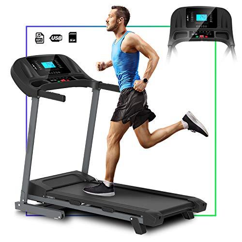 ArtGo Vincent Cinta de correr eléctrica plegable, velocidad máxima 14km/h 3,5HP máxima, 12 programas, soporte para tablet, altavoces con conexión USB/MP3/SD, sensor cardíaco, 2 niveles de inclinación