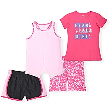 Cheetah Girls 4 Piece Set - Tank Top Tee Shirt and 2 Pairs of Shorts Red/Pink XL 14/16