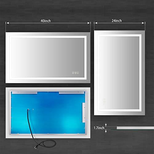 41rNaeq6BRL - ANTEN 40x24 Inch LED Bathroom Mirror, Horizontal/Vertical Anti-Fog Bathroom Mirrors for Wall, 3000-6000K Dimmable LED Lighted Vanity Mirror