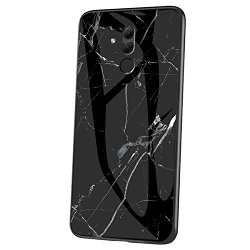 Herbests Kompatibel mit Huawei Mate 20 Lite Hülle Gehärtetes Glas Rückseite + Silikon Bumper Handyhülle Marmor Muster Kratzfeste Hardcase Schutzhülle Stoßfest Hybrid Hülle,Schwarz