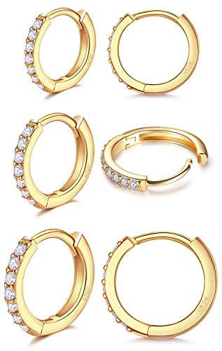 LIHELEI Creolen Ohrringe Gold Damen, S925 Sterling Silber Creolen Ohrringe mit AAA Zirkonia, Hypoallergen Klein Schlafen Kreolen für Geburtstagsgeschenk-3 Paar Gold
