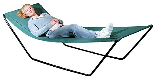 Portable Hammock – Space Saving Outdoor Foldable Free-Standing Hammock – Nylon Fabric with Steel Frame and Carrying Bag for Easy Travel