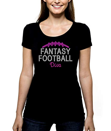 Fantasy Football Diva RHINESTONE T-Shirt Shirt Tee Bling - Pick Rhinestone Color - sports draft team party foot ball winner champ champion girl lady - Pick Shirt Style - Scoop Neck V-Neck Crew Neck