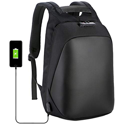 Rugzak Anti diefstal Laptopstandaarden heren Rugzak met usb-oplaadpoort Rugzakken Zaken school reizen (zwart)