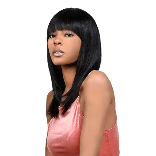 Instant Fab Long Bob Human Hair Wig with China Bangs for Black Women Layered Straight Bob with Bangs Human Hair Non Lace Front Wigs - ZIRCON (18 Inch, NATURAL)
