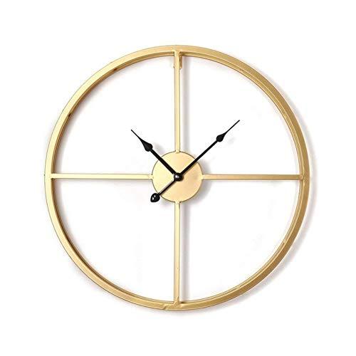 50/60 cm grote landelijke stijl metalen wandklok dubbellaags ijzeren frame mute horloge voor modern huis woonkamer hotel decor geschenken, goud 50 cm