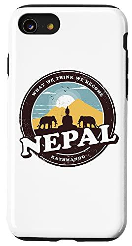 iPhone SE (2020) / 7 / 8 Nepal Kathmandu Buddha Statue Elephants Vintage Gift Case