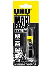 UHU Max Repair Extreme, extra sterke en universele reparatielijm voor bijna alle reparaties binnen en buiten, transparant, 8 g