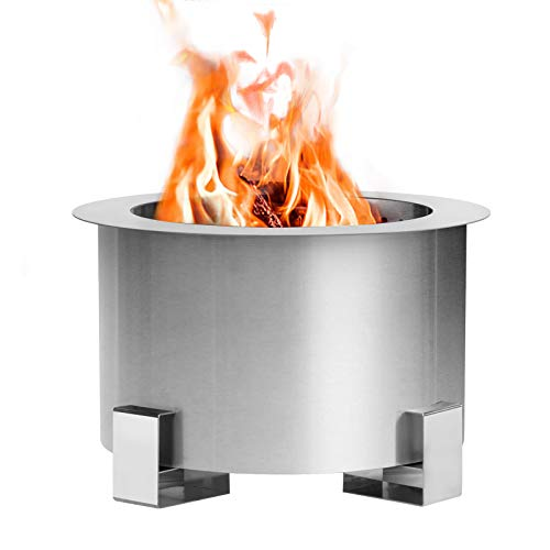Esright Stove Bonfire Smokeless Wood Fire Pit,21.5 Inch Stainless Steel Outdoor Smokeless Firepit,Wood Burning Firebowl for Backyard, Silver