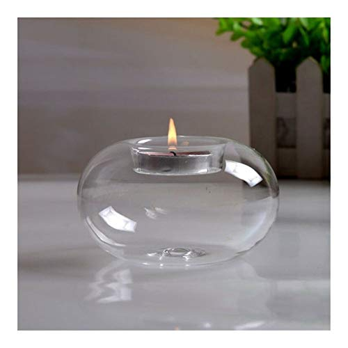 ZCDZJXB Round Hollow Glass Candle Holders Candlestick Dining Home Decor Wedding Supplies Flameless candles (Color : 8cm)