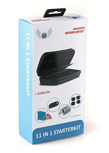 SKGAMES 11in1 Starter Kit für Nintendo Switch [ Tasche, 2 Silikonhüllen, 4 Daumenkappen, 3 Schutzfolien und Spielebox ]