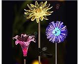 6 Pack Garden Solar 6 Flowers Lights Outdoor, LED Color Changing Stake Lights, Solar Powered Optic Fiber Decorative Lighting, Yard Art, Garden Decorations, Housewarming Gifts.