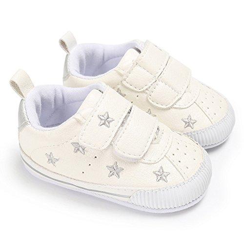 Allence Baby Sternchen Schuhe Jungen Mädchen Weiß Lauflernschuhe Krabbelschuhe, 0-18 Monate