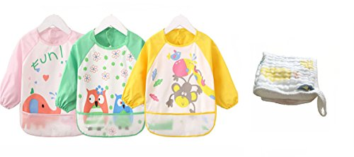 Bavette /étanche pour allaitement Tablier de peinture et de bricolage Bavoir tablier /à manches longues Babylaza pour enfants de 6 mois /à 3 ans