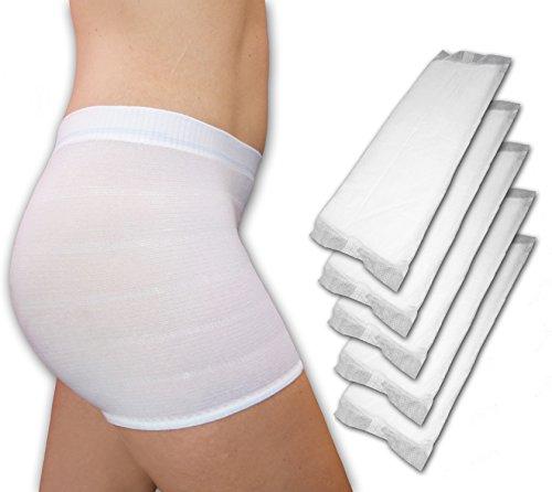 Premium-Kombi-Pack: 56St. große Wöchnerinnen Vorlagen PLUS 4Stk. Wochenbett Panties (mit Bein), wählbare Größen (L)