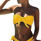 Voqeen Bikini Mujer Dos Piezas Ropa con Estampado de Lunares Push-Up Traje de baño con Lazo Mujeres Cuello Halter Sin Tirantes Bandeau Bikini Traje de baño (L, Amarillo)